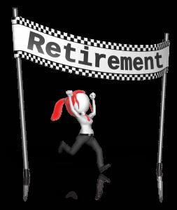 women's retirement finish line
